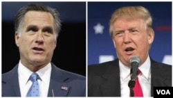 FILE - From left, former Republican presidential nominee Mitt Romney and President-elect Donald Trump.