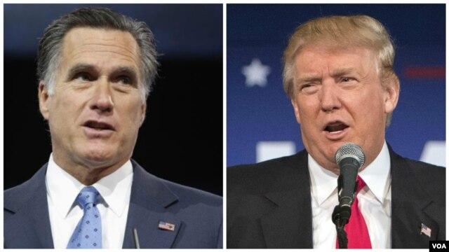 Cựu ứng cử viên tổng thống Mitt Romney (trái) và ứng cử viên đang dẫn đầu đảng Cộng Hòa Donald Trump.