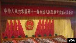 Perdana Menteri Wen Jiabao, menyampaikan pidatonya dalam pembukaan Kongres Rakyat Nasional di Beijing (5/3).