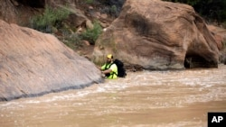 A member of a search and rescue team wades in to Virgin River during a search in Zion National Park, near Springdale, Utah, Sept. 16, 2015.
