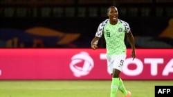 Odion Ighalo du Nigeria célèbre son but contre la Tunisie lors de la CAN, Egyte, le 17 juillet 2019. (Photo Khaled DESOUKI / AFP)