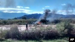 Lugar del accidente de helicópteros en Villa Castelli, provincia de La Rioja, en Argentina, donde murieron diez personas.l