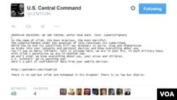 داعش در توییتر پرسنل دولتی و نظامی آمریکا را تهدید کرد.
