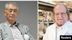 Dari kiri: Ph.D. James P. Allison dari MD Anderson Cancer Centre di The University of Texas (Foto: MD Anderson Cancer Center) dan Profesor Universitas Kyoto Tasuku Honjo di Kyoto (Foto:Kyodo).