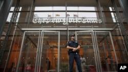 圖為紐約時報大樓 (美聯社2018年6月28日資料照)