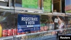 En Houston, Texas, al igual que en otras partes de EE.UU. se ven carteles llamando a registrarse para votar.