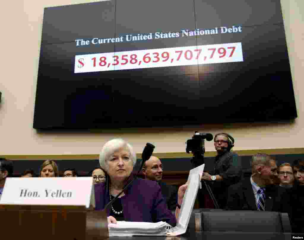 "Federal Reserve Board Chair Janet Yellen testifies before the House Financial Services Committee hearing on the ""Federal Reserve's Supervision and Regulation of the Financial System"" in Washington, D.C., USA."