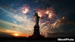 The Statue of Liberty is seen against a backdrop of fireworks.