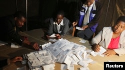 FILE: Zimbabwean election officials count ballot papers after the close of voting on a referendum in Harare, March 16, 2013.