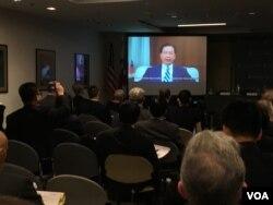 台湾外交部长吴钊燮在全球台湾研究中心年会发表视频演说。(美国之音钟辰芳拍摄)