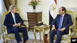 엘시시 이집트 대통령을 만난 존 케리 미국 국무장관