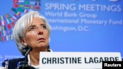 18일 워싱턴에서 열린 국제통화기금-세계 은행 회의에 참석한 크리스틴 라가르드 국제통화기금(IMF) 총재. (자료사진)