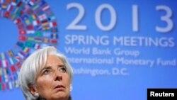Christine Lagarde, Pimpinan Dana Moneter Internasional (IMF) di pertemuan musim semi di Washington DC, 18 April 2013 (Foto: dok). IMF menyatakan ekonomi Asia secara keseluruhan akan memimpin pemulihan ekonomi global pada tahun 2013.