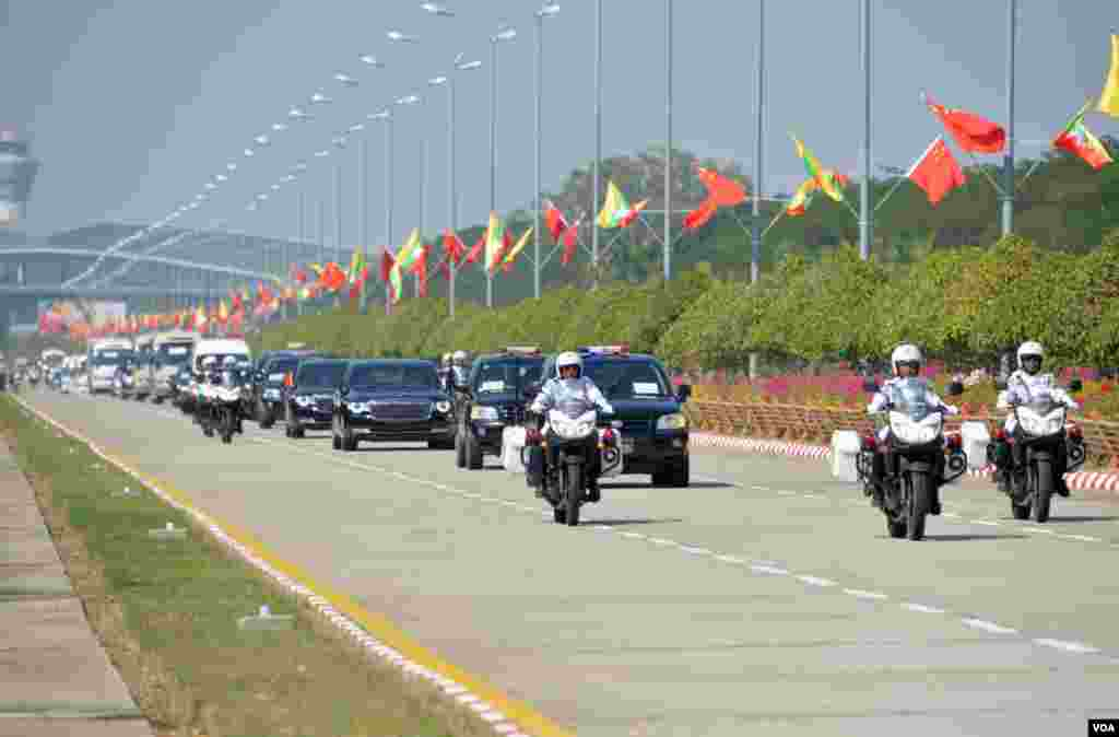 Chinese President Arrived Naypyidaw