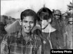 Kate Webb (right) with Chhim Sarath, her driver who was captured and killed. (Sylvana Foa/Documentation Center of Cambodia)