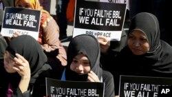 Người Hồi giáo Philippines biểu tình tại Hạ viện kêu gọi thông qua Luật Bangsamoro (BBL) nhằm mang lại hòa bình cho vùng Mindanao theo Hồi Giáo, ngày 10/2/2015.