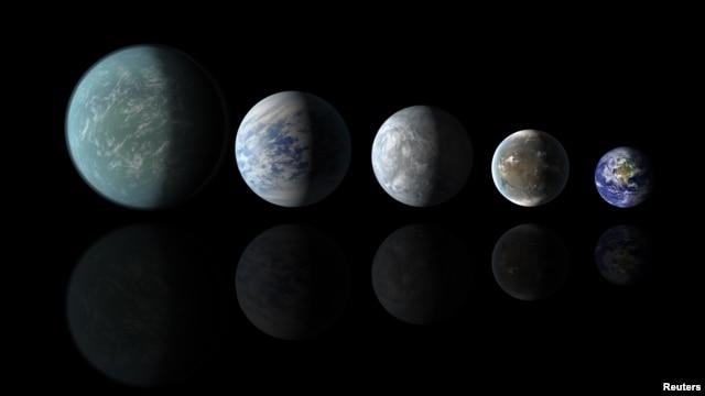 Relative sizes of Kepler habitable zone planets discovered as of April 18, 2013 in this artist's rendition provided by NASA. (L to R) Kepler-22b, Kepler-69c, Kepler-62e, Kepler 62f and Earth.