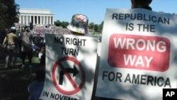 抗议者希望民主党能保持对国会的控制