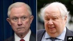 Cựu Bộ trưởng Tư pháp Mỹ Jeff Sessions (trái) và cựu đại sứ Nga Sergey Kislyak