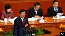 中國人民最高檢察院院長曹建明在北京舉行的全國人大會議全會上講話。(2014年3月10日)