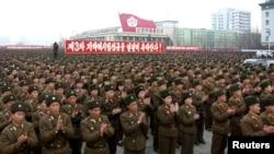 지난 2월 평양에서 핵실험을 자축하기위해 열린 대규모 집회.