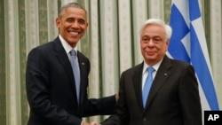 美國總統奧巴馬11月15日與希臘領導人舉行會晤。