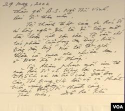"""Những năm về sau này, cho dù đã phải sống xa quê nhà, nhưng tấm lòng GS Đỗ Bá Khê vẫn cứ luôn đau đáu hướng về """"tương lai ĐBSCL và vai trò của Đại Học Cần Thơ trong việc bảo vệ và phát triển vùng này."""" [tư liệu Ngô Thế Vinh: thư tay của GS Đỗ Bá Khê viết từ Thành phố Concord, California ngày 29.05.2002]"""