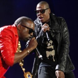Kanye West, left, and Jay-Z performing together last year