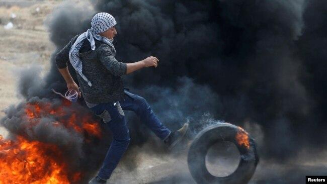 Manifestación palestina en la ciudad de Gaza.