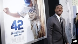 Chadwick Boseman at the premiere of '42' in Los Angeles, California