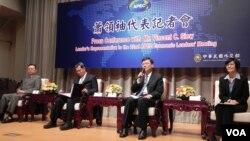 台湾行政院新闻中心举行APEC记者会 (美国之音许波 拍摄)