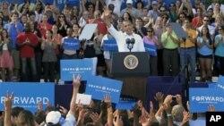 18일 뉴욕주 로체스터시에서 선거유세를 하는 바락 오바마 대통령.