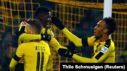 Le Gabonais Pierre-Emerick Aubameyang lors d'un match à Dortmund, Allemagne, le 3 décembre 2016.