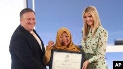 در این نشست چند نفر از جمله یک زن فعال ضد قاچاق انسان از اندونزی مورد تقدیر وزیر خارجه آمریکا و ایوانکا دختر و مشاور پرزیدنت ترامپ قرار گرفت.