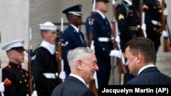 Министр обороны США Джим Мэттис приветствует своего польского коллегу Мариуша Блащака в Вашингтоне, 13 ноября 2018