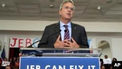 共和黨總統參選人傑布布殊星期一在佛州天帕市競選。