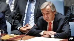 Umunyamabanga mukuru w'ishirahamwe mpuzamakungu ONU António Guterres ashikiriza Ijambo mu nama ya Onu ijejwe umutekano.