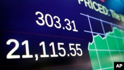 A board above the trading floor of the New York Stock Exchange shows the Dow Jones industrial average closing number above 21,000, March 1, 2017.