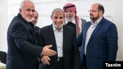 محمدجواد ظریف و محمود الزهار از سران حماس در تهران- دی ۱۳۹۷