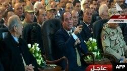 Le président Sissi à la télévision lors de l'inauguration, en Egypte, le 31 janvier 2018.