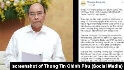 Thủ tướng Nguyễn Xuân Phúc, ảnh chụp màn hình trang Facebook Thông tin Chính phủ, 5/11/2019.
