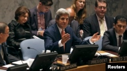 U.S. Secretary of State John Kerry addresses the United Nations Security Council at U.N. headquarters in New York, July 25, 2013.