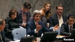 Sekreteri wa leta w'Amerika John Kerry mu nama y'inteko ishinzwe umutekano kw'isi i new York taliki ya 25/07/2013.