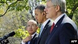 Президенты США и Мексики Барак Обама и Фелипе Кальдерон, а также премьер-министр Канады Стивен Харпер