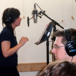 Audio engineer Brad Kaminski records a song by Sarah Hull.