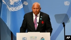 Fiji's Prime Minister Frank Bainimarama talks at the opening of the COP 23 UN Climate Change Conference in Bonn, Germany, Nov. 6, 2017.