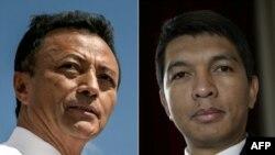 Marc Ravalomanana (G) et Andry Rajoelina sur une combinaison de photos.