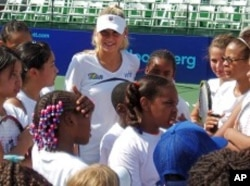 Anna Kournikova with the children