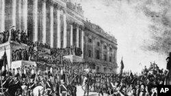 Prezident Vilyam Henri Harrisonun 1841-ci ildə inaqurasiya mərasiminin təsvir edildiyi illüstrasiya