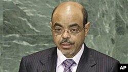 Waziri mkuu wa Ethopia Meles Zenawi akihutubia mkutano mlkuu wa Umoja wa Mataifa.